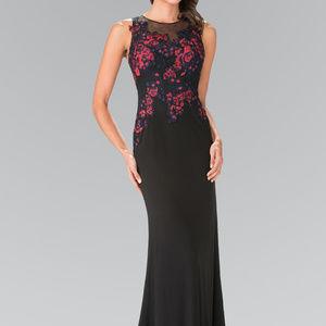 Illusion Floral Sleeveless Long Prom Dress GL2238